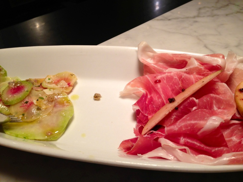 shaved kolrhabi and watermelon radishes with prosciutto di parma and asian pears.